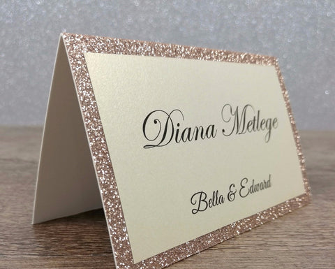 Glitter Champagne Place Card - life after yes