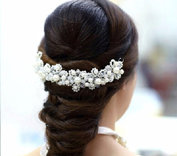 Pearl and Crystal Bridal Hair Piece - life after yes