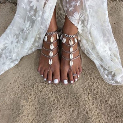 Beach Wedding Barefoot Sandal with Seashells - life after yes