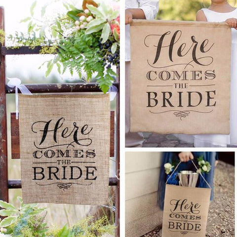 """Here Comes the Bride"" Burlap Banner"