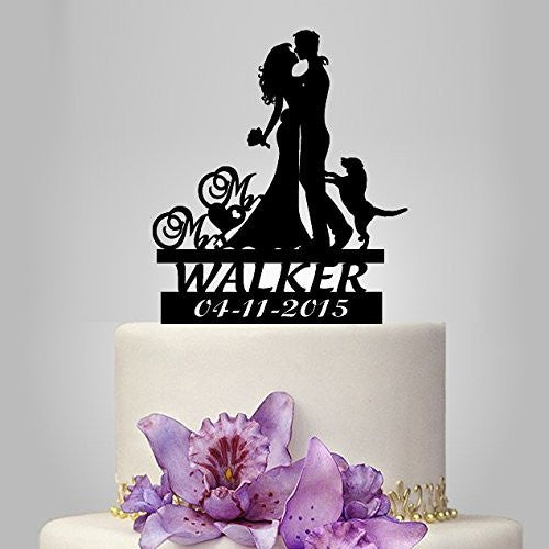 Personalized Bride and Groom Silhouette with Dog Cake Topper