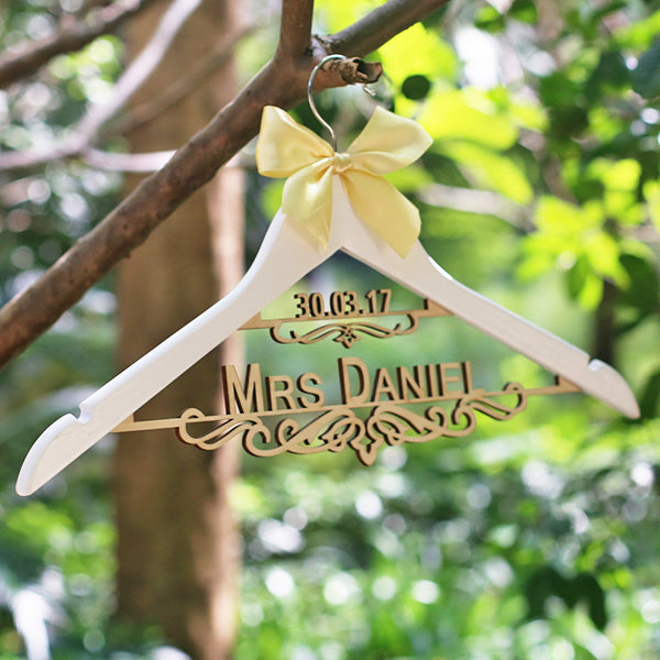 Personalized Wooden Wedding Hanger with Name and Date - life after yes
