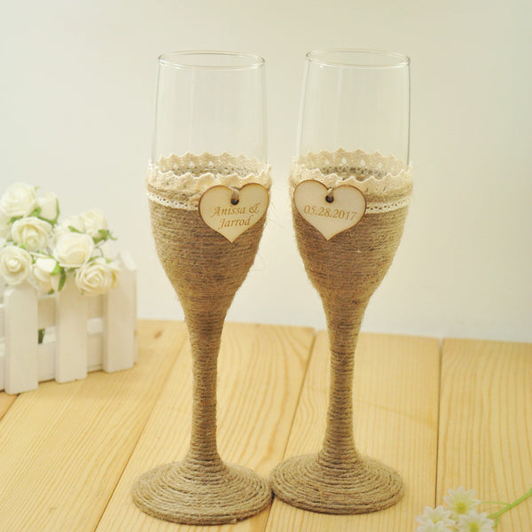 Personalized Rustic Wedding Glasses