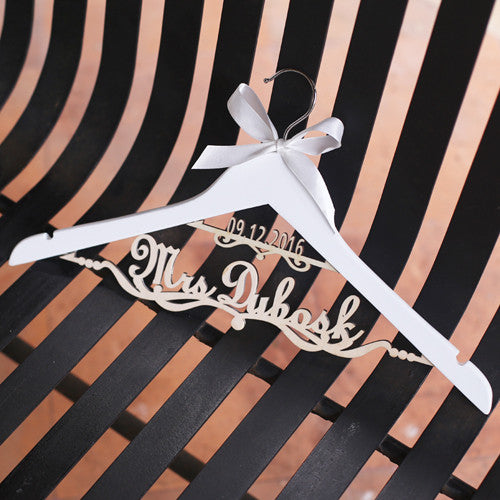 Custom Two Line Bridal Hanger with White Bow - life after yes