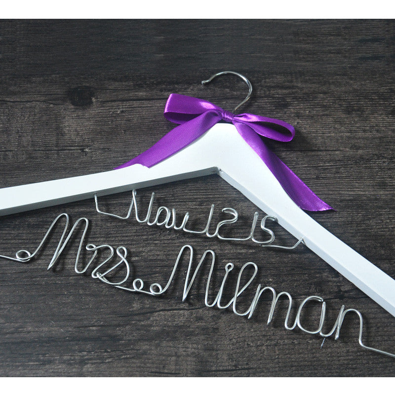 Personalized Bridal Hanger with Purple Bow - life after yes
