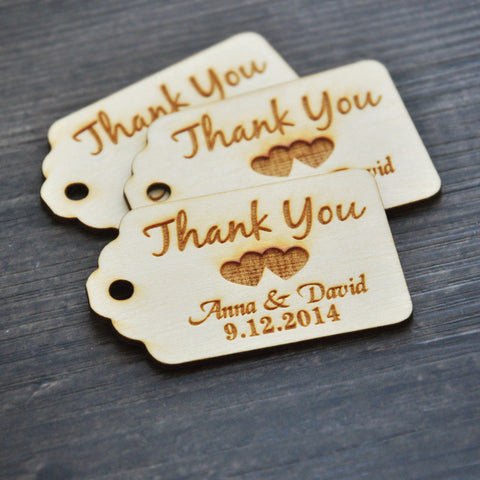 50 Piece Lot of Engraved Wooden Thank You Tags