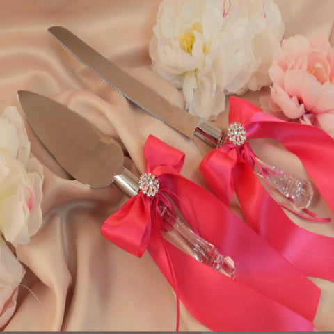 Embellished Bow Cake and Knife Server in 9 Colors - life after yes