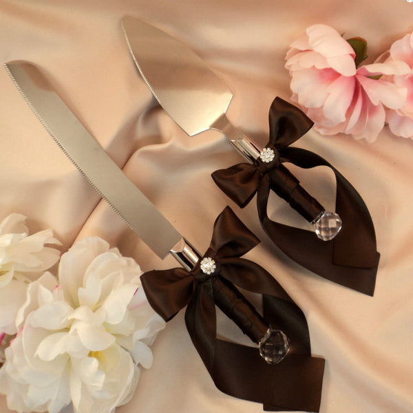 Embellished Bow Cake and Knife Server in 9 Colors