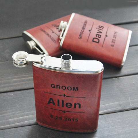 Personalized Engraved Leather Flask for Groomsmen