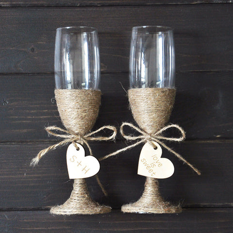 Personalized Rustic Champagne Toasting Glass set - life after yes