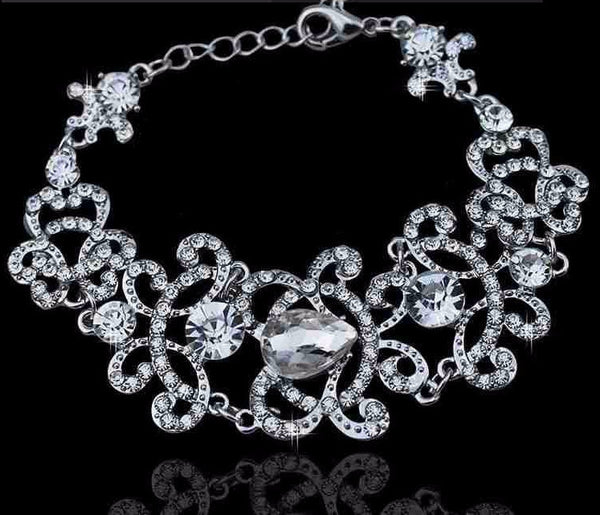 Crystal Bridal Jewelry Set in Silver or Gold - life after yes