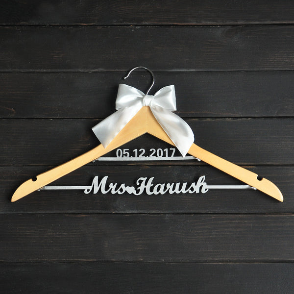 Personalized Two Line Bridal Hanger with Bow - life after yes