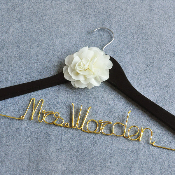 Personalized Bridal Hanger with Flower - life after yes