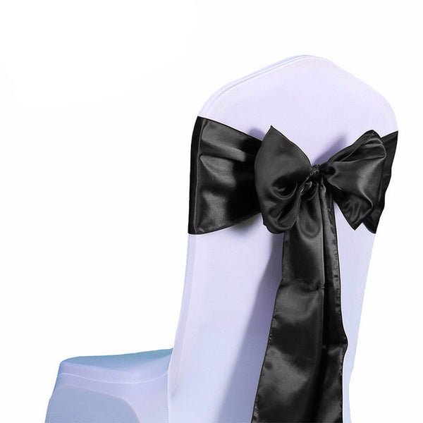 Black Satin Chair Sashes wedding - life after yes