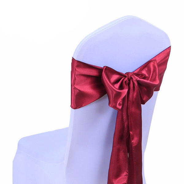 Burgundy Satin Chair Sashes wedding - life after yes