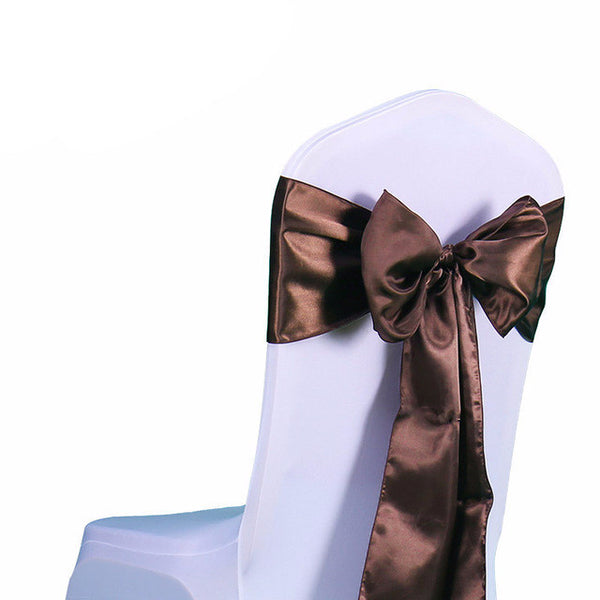 Chocolate Satin Chair Sashes wedding - life after yes