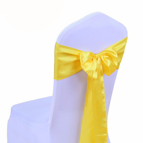Yellow Satin Chair Sashes wedding - life after yes