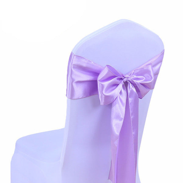 Lavendar Satin Chair Sashes wedding - life after yes