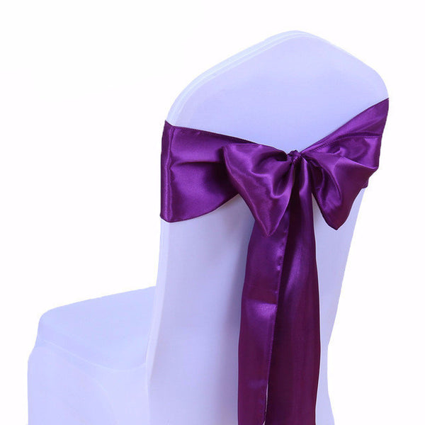 Purple Satin Chair Sashes  wedding - life after yes