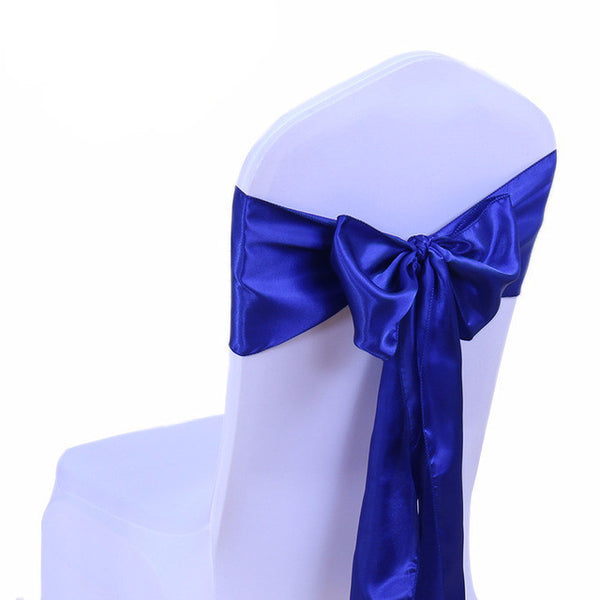 Royal Blue Satin Chair Sashes wedding - life after yes