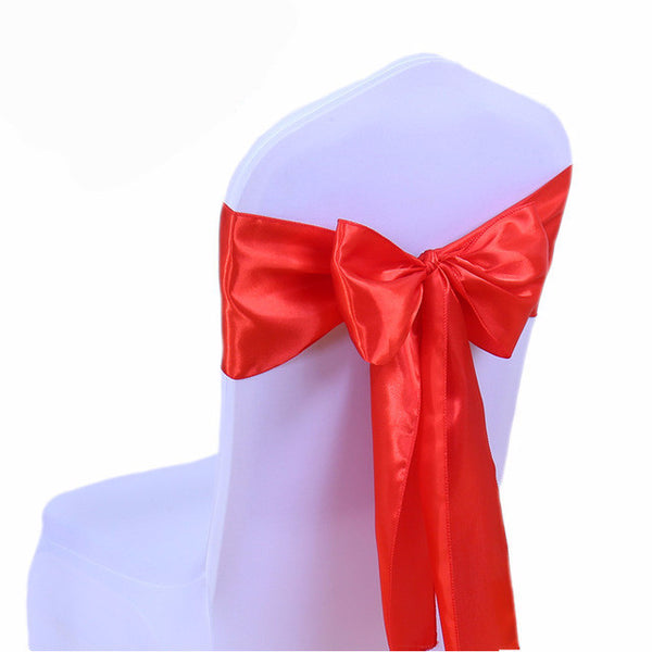 Red Satin Chair Sashes wedding - life after yes