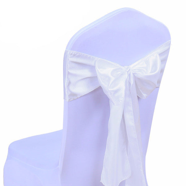 Ivory Satin Chair Sashes wedding - life after yes