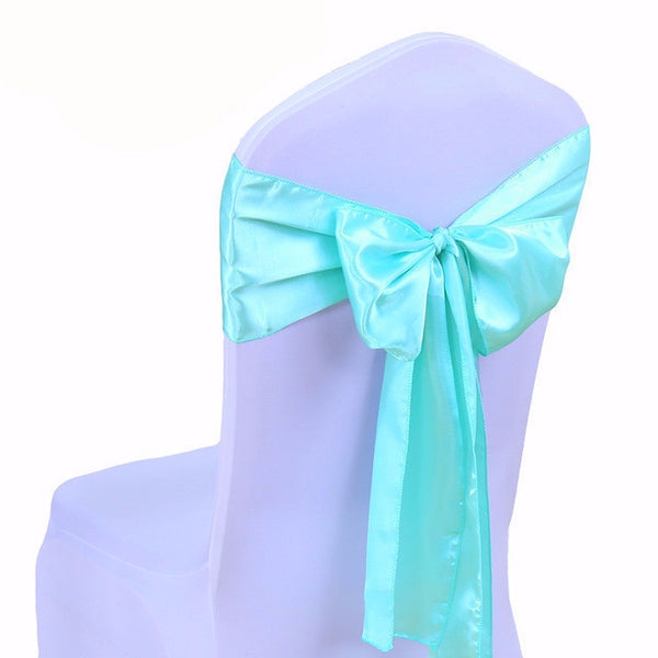 Light Blue Satin Chair Sashes wedding - life after yes