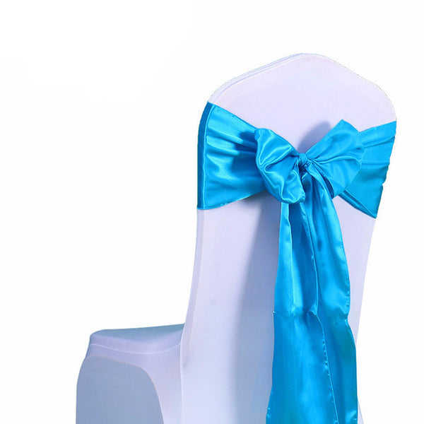 Tiffany Blue Satin Chair Sashes wedding - life after yes