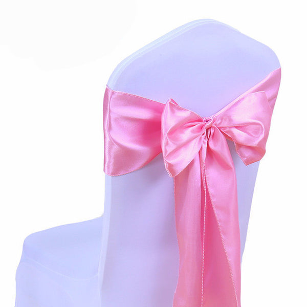 Pink Satin Chair Sashes wedding - life after yes