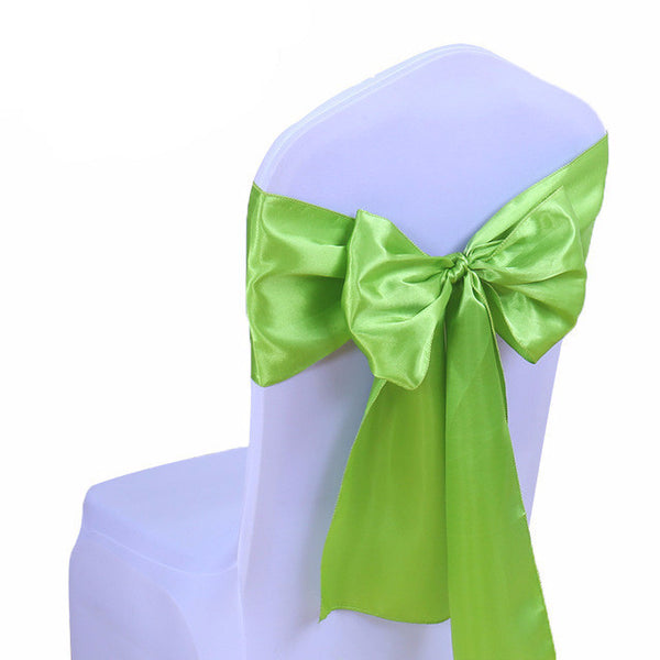 Grass Green Satin Chair Sashes wedding - life after yes