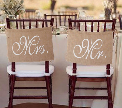 Mr. & Mrs. Burlap Chair Banner - life after yes