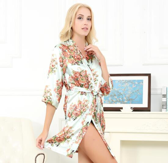 Satin Floral Robe in 10 Colors - life after yes