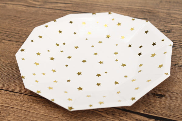 Gold Star/Stripe Paper Plates & Cups - life after yes