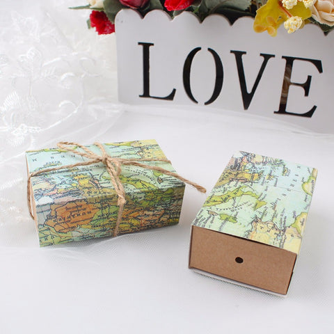 10 Piece Set of World Map Favor Boxes - life after yes