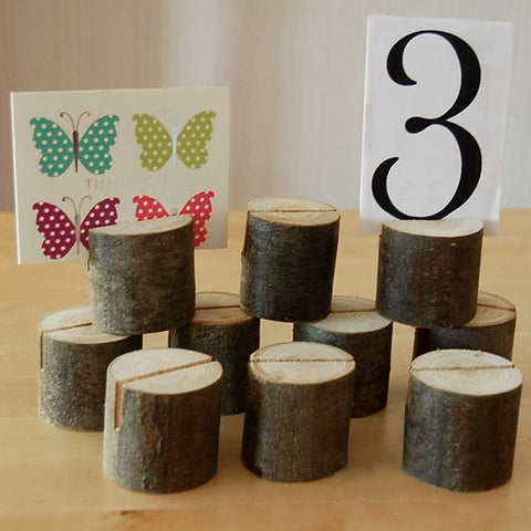 Wooden Log Place Card or Table Number Holder - life after yes