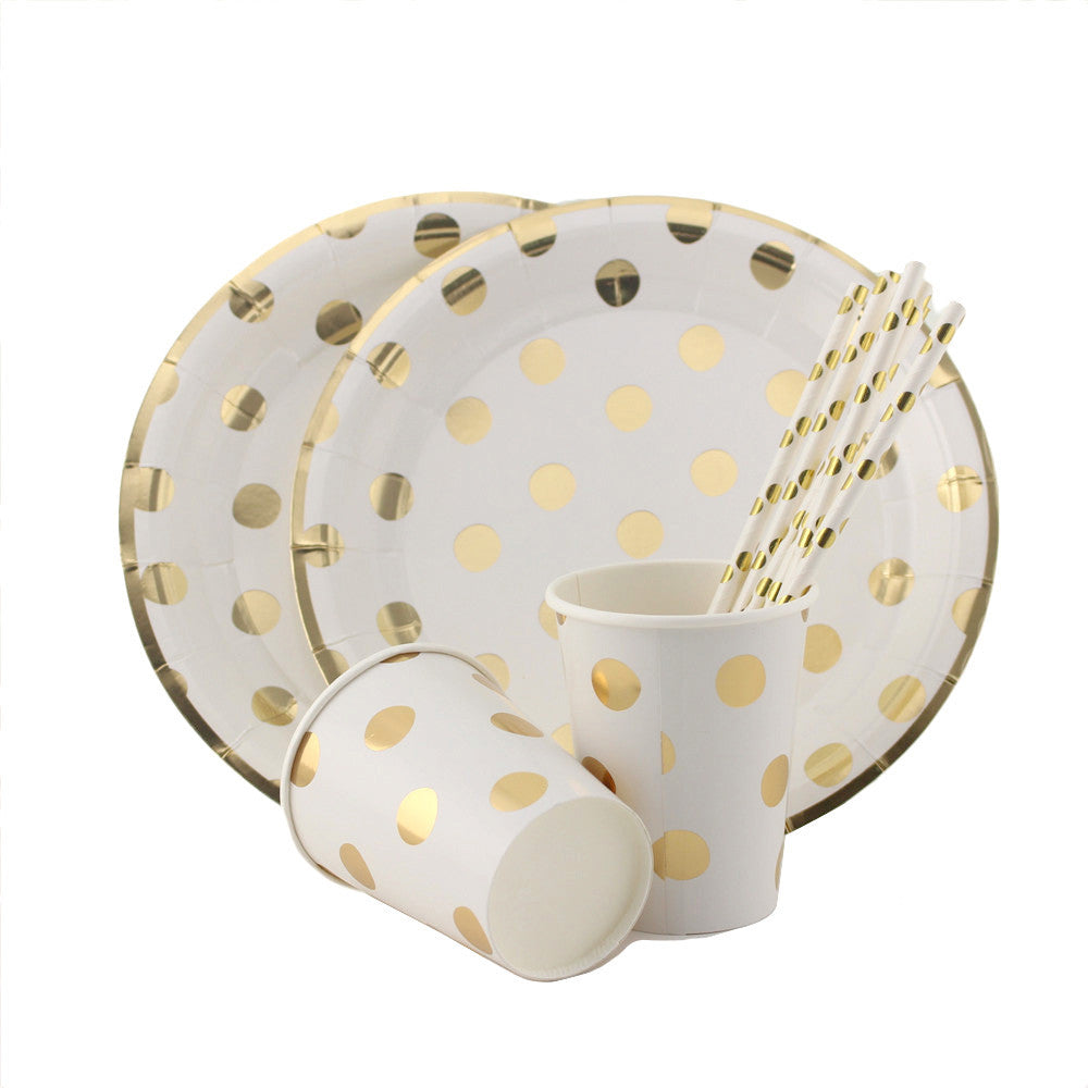 Gold Polka Dot Plate Set - life after yes