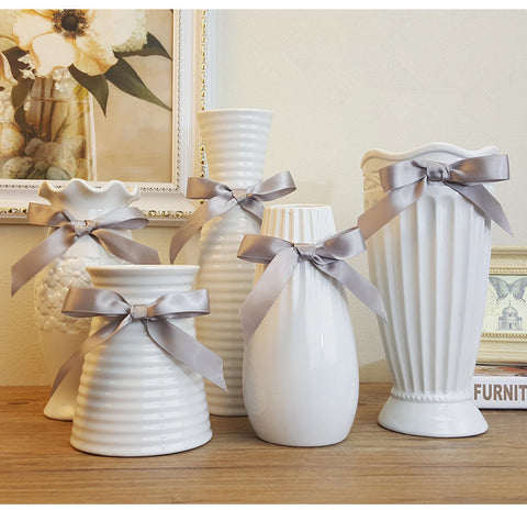 Ceramic Vase with Gray Bow - life after yes