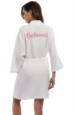 Embroidered Waffle Weave Robe - life after yes