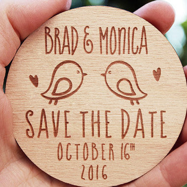 Two Birds Save the Date Magnets - life after yes