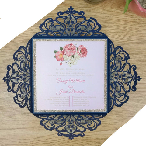 Elegant Floral Design Laser Cut Invitation (50 Piece Set) - life after yes
