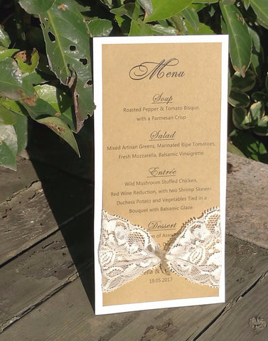 Rustic Chic Menu with Lace Bow - life after yes