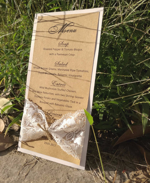Rustic Chic Menu with Lace Bow