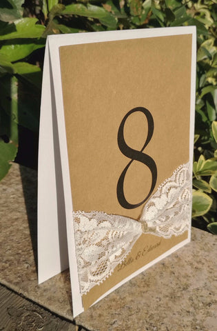 Rustic Chic Table Number with Lace Bow - life after yes