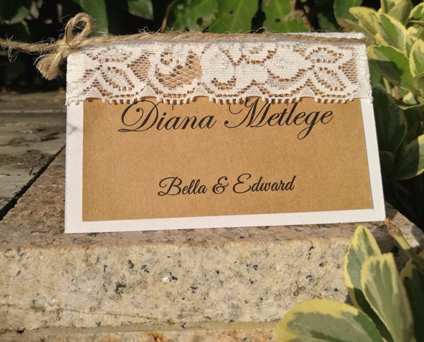 Rustic Chic Place Card with Lace Bow - life after yes
