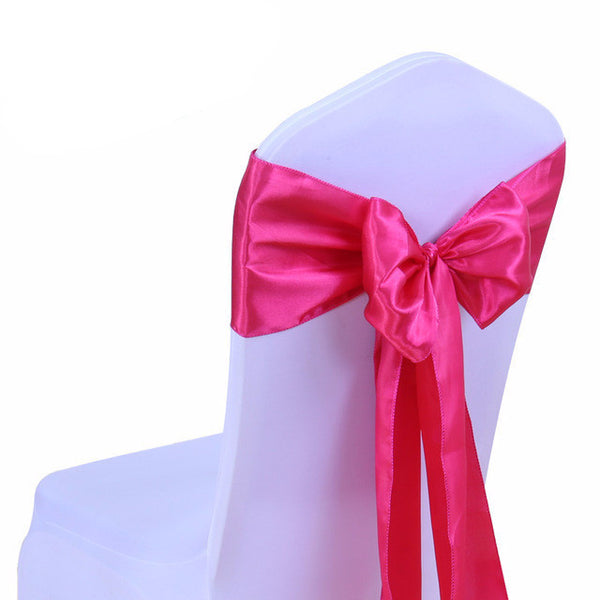 Fushcia Pink Satin Chair Sashes wedding - life after yes
