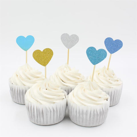 10 Piece Set of Heart Cupcake Toppers