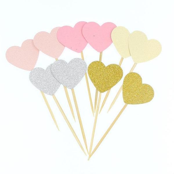 10 Piece Set Heart Cupcake Toppers - life after yes