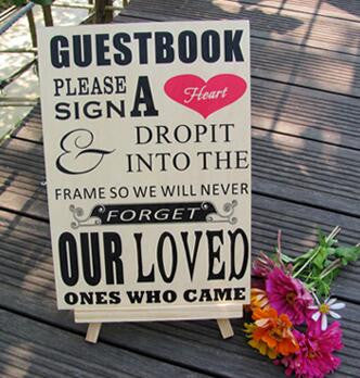 """Please Sign A Heart"" Wooden Wedding Sign for Drop Heart Guestbook - life after yes"