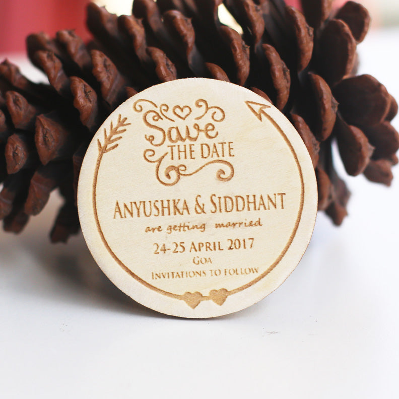 Sweetheart Wooden Save the Date Magnet