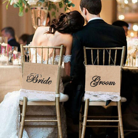 Bride & Groom Burlap Lace Chair Sign